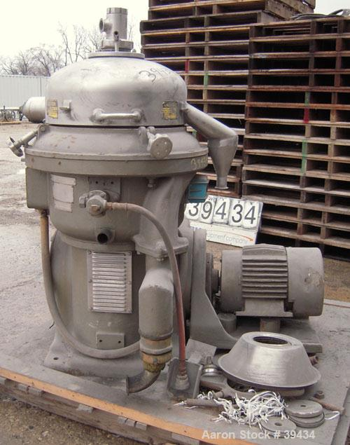 Used- Alfa Laval CAFPX-207-XGV-19-60 Disc Centrifuge, 316 Stainless Steel. Light phase pump discharge, heavy phase overflow,...