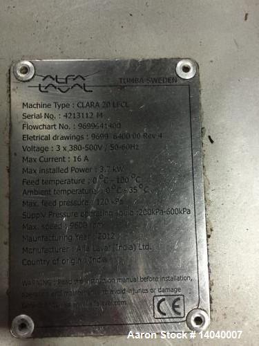"""Used- Alfa Laval LAPX-404-SGP-31GC """"Clara-20"""" Desludger Disc Centrifuge."""