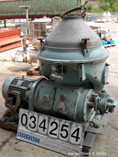 Used- Alfa-Laval MAPX-210T-29-60 Oil Purifier Centrifuge Frame, 329 Stainless Steel. Frame driven feed pump, 25 hp motor 208...