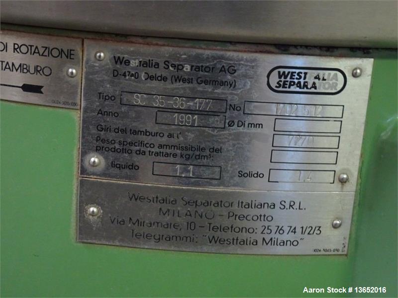 Used- GEA Westfalia SC 35-36-177 Desludger Disc Centrifuge
