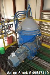 Used- Alfa Laval WHPX510TGD24-60HZ Disc Centrifuge. Driven by a 15kw motor. Serial# 2965556. Includes a Harvest Energy recta...