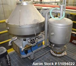 Used- Flottweg AC 2000-430 Desludger Disc centrifuge, Stainless Steel. Maximum bowl speed 5700 rpm, separator design (liquid...