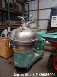 Used- Westfalia SAMN15037 (SA-45-03-177) Desludger Disc Centrifuge. 316 stainless steel construction (product contact areas)...