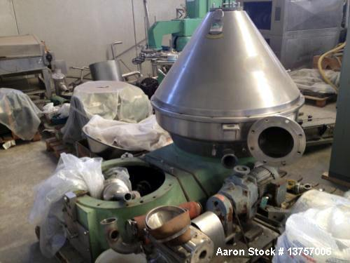Used- Westfalia HSA-200-06-777 Desludger Disc Centrifuge. 316 stainless steel construction (product contact areas). Clarifie...