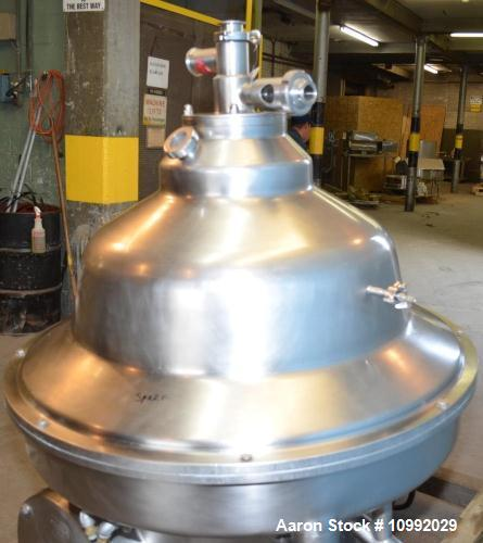 Used- Westfalia KSA-20-01-076 Desludger Disc Centrifuge. Stainless Steel construction (product contact areas), max bowl spee...