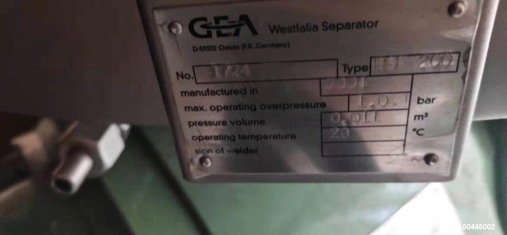 Unused- Westfalia RSE-200-01-776 Desludging Refining Disc Centrifuge