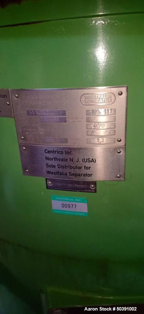 Used- Westfalia SA-100-01-777 Desludger Disc Centrifuge