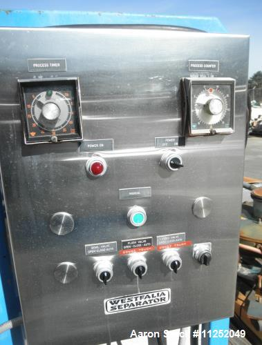 Used- Westfalia SA-14-06-076 Desludger Disc Centrifuge. Stainless steel construction (product contact areas), max bowl speed...