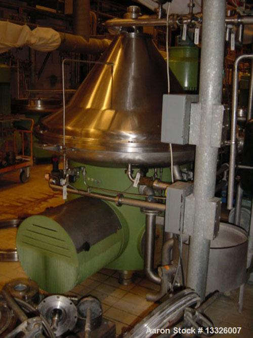 Used-Westfalia SA-160-06-177 Desludger Disc Centrifuge.  Material of construction is stainless steel on product contact part...