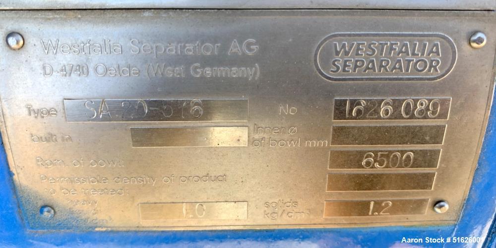 Westfalia SA-20 Desludging Disc Centrifuge