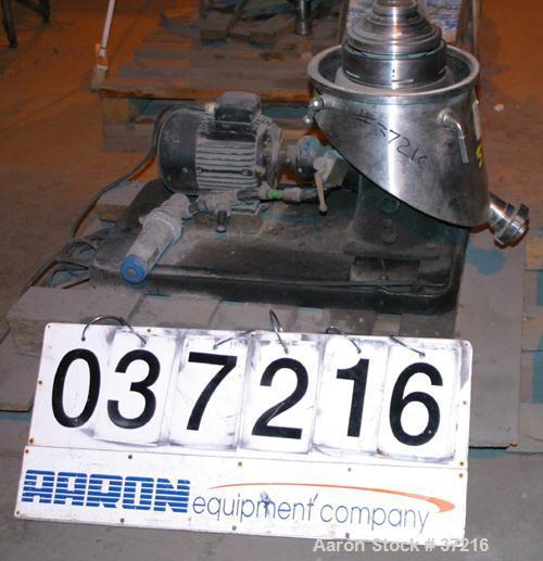 Used- Westfalia SA00H-205 (SA1-02-076) Pilot Scale Desludger, Sanitary Separator Design. Maximum bowl speed 10,000 rpm, max ...