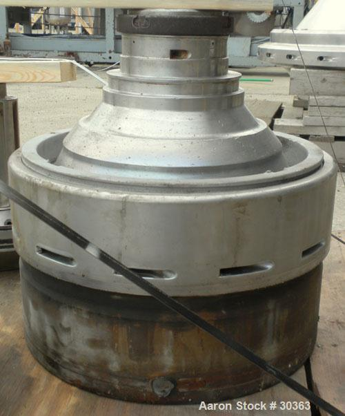 Used- Westfalia Disc Centrifuge, Model SAMN 5036, 434 Stainless Steel. Driven by a 5.5 kW bowl top, disc stack, centripetal ...