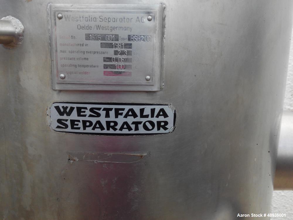 Used- Westfalia SB-80-36-777 Desludger Disc Centrifuge.