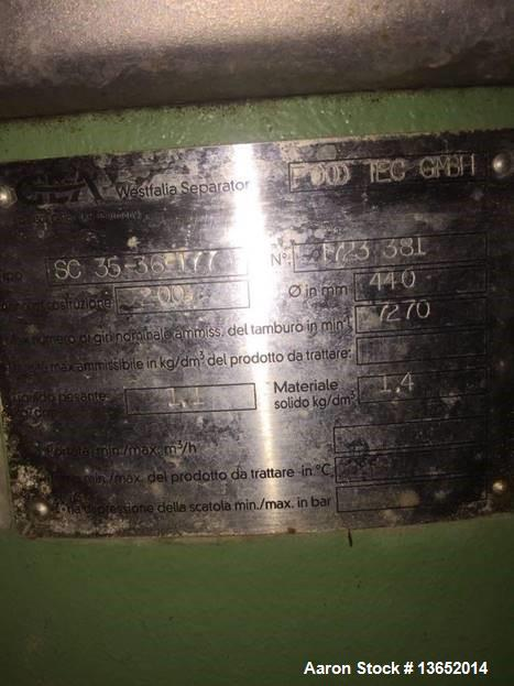 Used- Westfalia SC 35-36-177 Desludger Disc Centrifuge