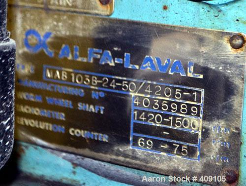 Used- Stainless Steel Alfa Laval Solid Bowl Disc Centrifuge,  MAB-103B-24-50/420