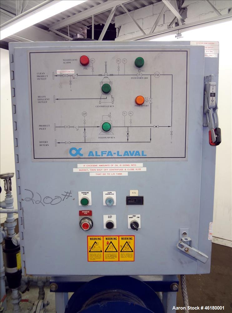 Used- Alfa Laval MMB-304S-11-60 Solid Bowl Disc Centrifuge, bowl assembly construction dupex 2205 and bronze product contact...