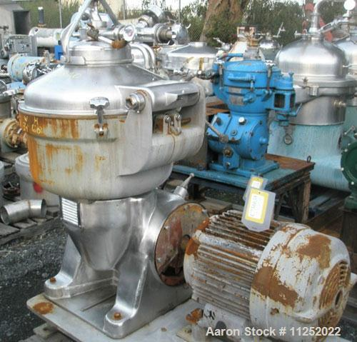 Used- Stainless Steel Alfa Laval Solid Bowl Disc Centrifuge, SRG-214-14HH