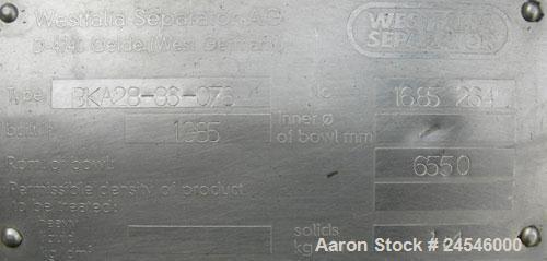 Used- Westfalia BKA-28-86-076 Solid Bowl Disc Centrifuge, 316 Stainless Steel Construction (product contact areas). Maximum ...