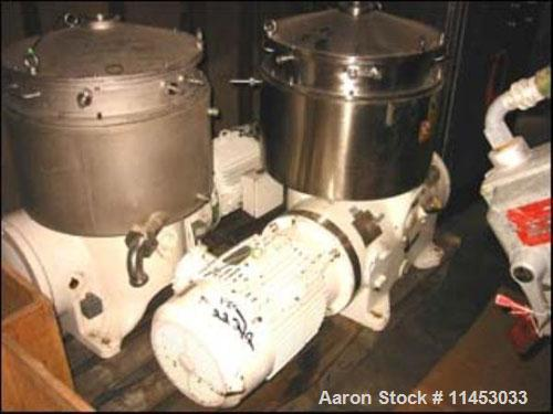 Used-Westfalia BKA-28-86-076 solid bowl disc centrifuge, stainless steel on product contact areas. Max bowl speed 66000 rpm,...