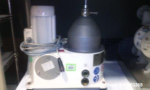 Used- GEA Westfaila CTC-1-06-107 Solid Bowl Disc Centrifuge, Stainless Steel. 12,000 rpm max bowl speed, rated 1.0kg/cu dm h...