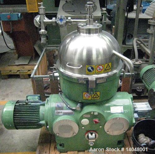 Used-Westfalia KA-25-86-076 Chamber Bowl Disc Centrifuge.  Material of construction is stainless steel on product contact pa...