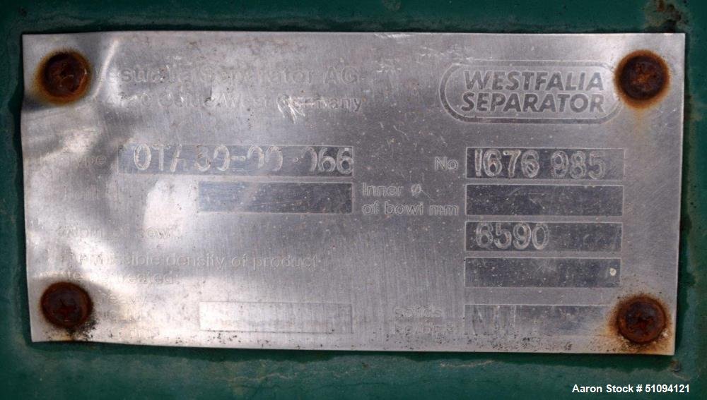 Used- Westfalia OTA30-00-066 Solid Bowl Disc Centrifuge. Bowl speed 6590 rpm. Driven by a 10hp, 3/60/208-230/460 volt, 1760 ...