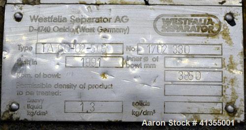 Used- Stainless Steel Westfalia Solid Bowl Disc Centrifuge, TA-60-02-506