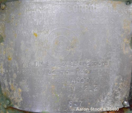 Used- Stainless Steel Sharples Nozzlejector Centrifuge, Type DM-E-1624-19-E-2633-5