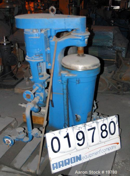 USED: Sharples AE-15MV Enbloc lube oil purifier. Max bowl speed 15,000 rpm. 3 hp Louis Allis motor 440/3/60/5600 rpm, duplex...