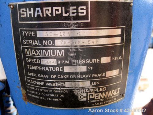 Used- Sharples Super Centrifuge, Model AE-16 VHC