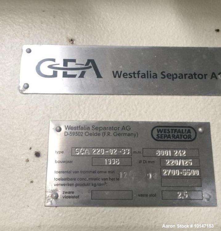 Used- GEA Westfalia CA-220-02-33 Solid Bowl Tricanter Centrifuge