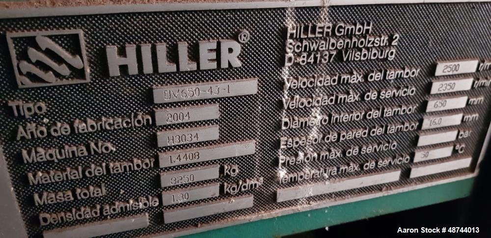 Used- Hiller GmbH OV 650-43-1 Solid Bowl Tricanter Centrifuge