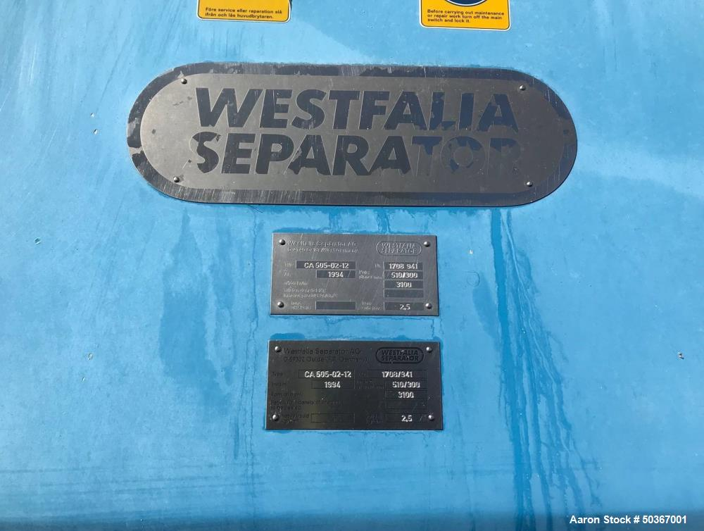 Used- Westfalia CA 505-02-12 Solid Bowl Tricanter Centrifuge