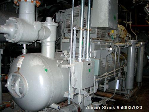 Used- Frick Rotary Screw Packaged Chiller, Model RWB II 480E. Approximately 300 ton at -15 deg F. 300 psi, 700 hp motor, rpm...