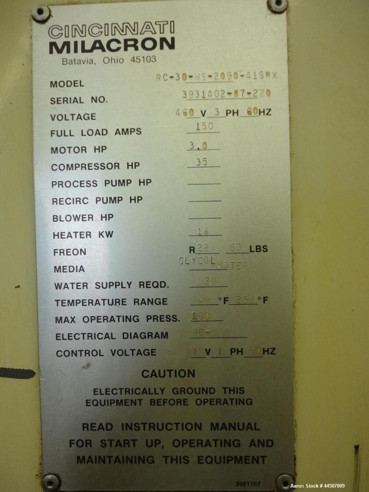 used cincinnati milacron water cooled chiller m rh aaronequipment com