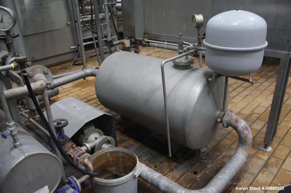 Used-APV/Alfa Laval/SPX CIP plant/system consisting of: (4) Stainless steel tanks, appox. 529 gallon/2000-liter capacity, on...