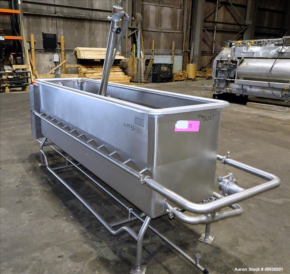 "Used-Sani-Matic Clean Out of Place Tank, Model PWJ-300.  Stainless Steel, Horizontal.  Trough approximate 98"" long x 24"" wid..."
