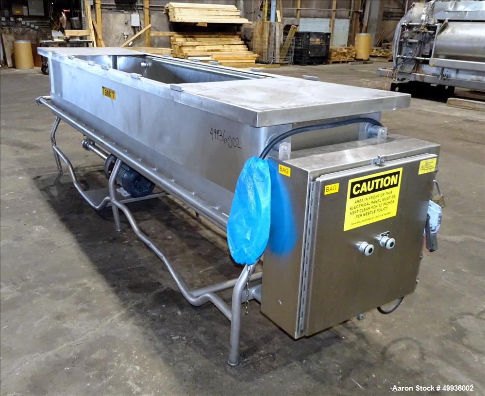 """Used-Sani-Matic Clean Out of Place Tank, Model RWJ-250.  Stainless Steel, Horizontal.  Trough approximate 120"""" long x 24"""" wi..."""