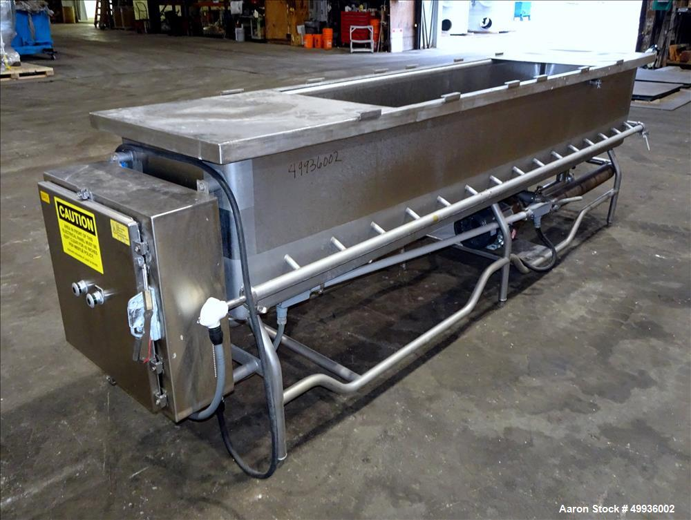 "Used-Sani-Matic Clean Out of Place Tank, Model RWJ-250.  Stainless Steel, Horizontal.  Trough approximate 120"" long x 24"" wi..."
