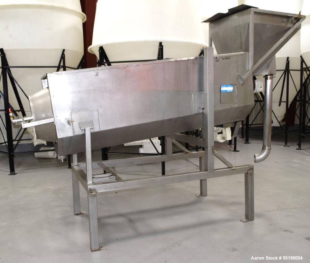 """Used-Coating Drum, Stainless Steel. Perforated drum approximate 23"""" diameter x 96"""" long, driven by an approximate 0.75hp gea..."""