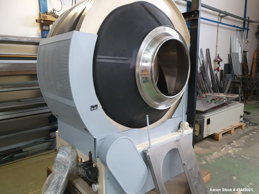 Used- Pellegrini Coating Pan, Model T300. 300 kg capacity. Stainless steel construction. Includes: spray nozzles, spraying g...