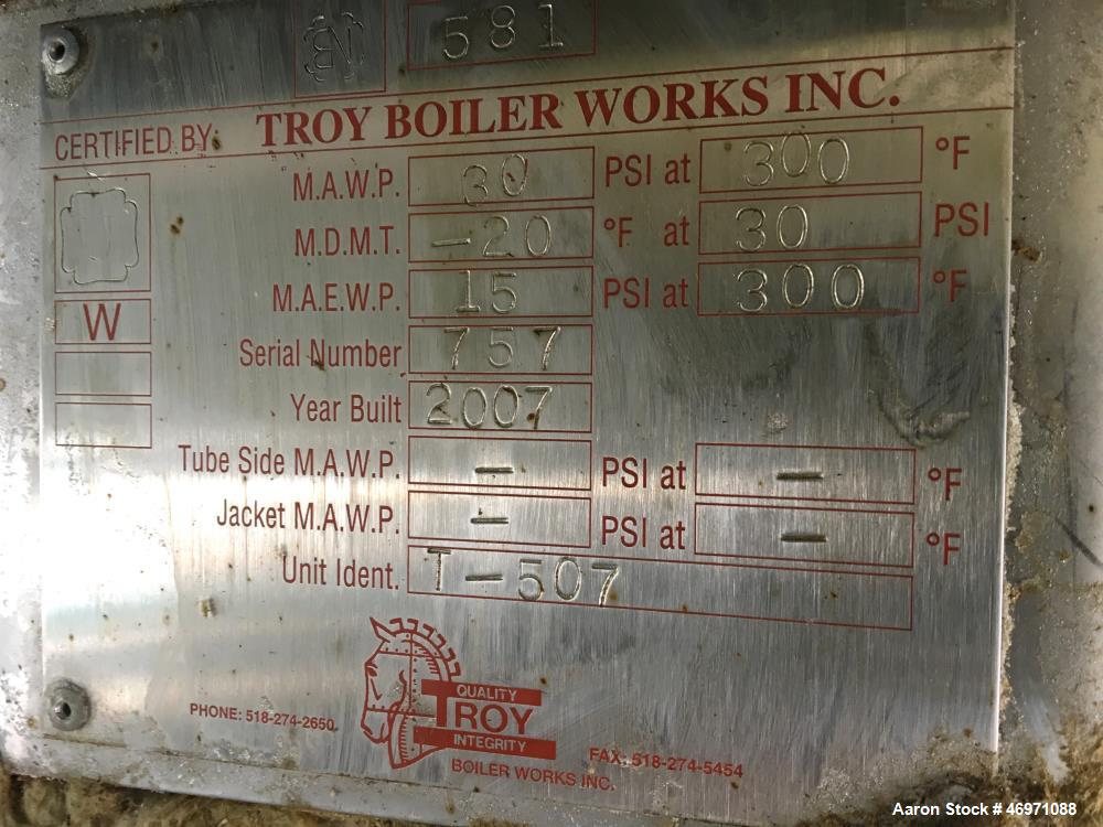"""Used- Troy Boiler Works Stripper Column, 304 Stainless Steel. Approximate 42"""" diameter x 509"""" tall, dished top and bottom. R..."""
