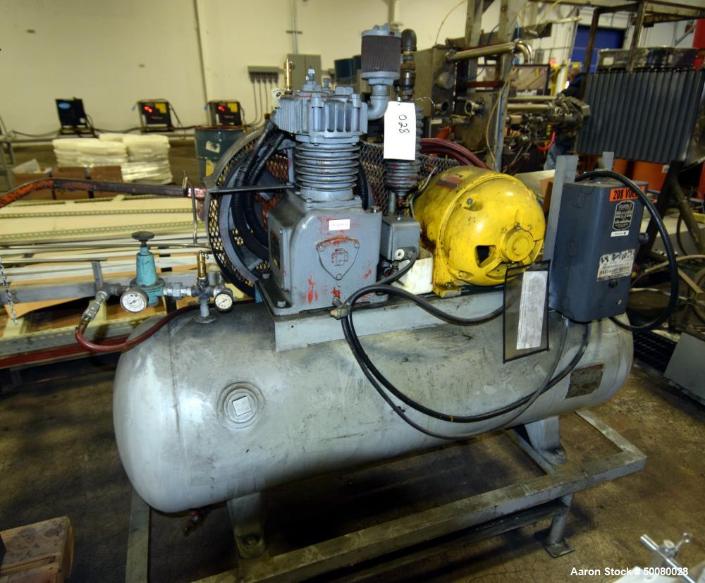 Used- Gardner-Denver Air Cooled Compressor, Model ADD-1011-59275. Mounted on a tank. Driven by a 5hp motor. Serial# 188727.