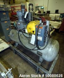 Gardner-Denver Air Cooled Compressor, Model ADD-1011-59275. Mounted on a tank. Driven by a 5hp moto...
