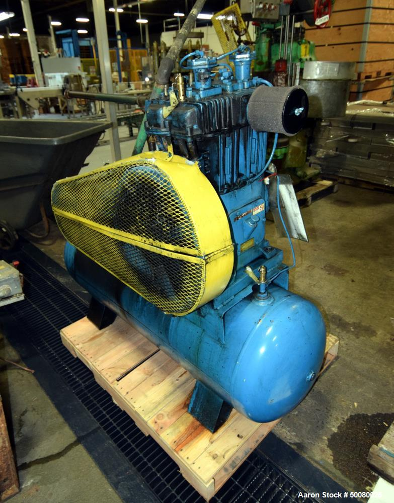 Used- Quincy 2 Stage Air Cooled Compressor, Model 340, Size 5.25 x 3 x 3.5, mounted on a tank. Driven by a 7.5hp motor. Seri...