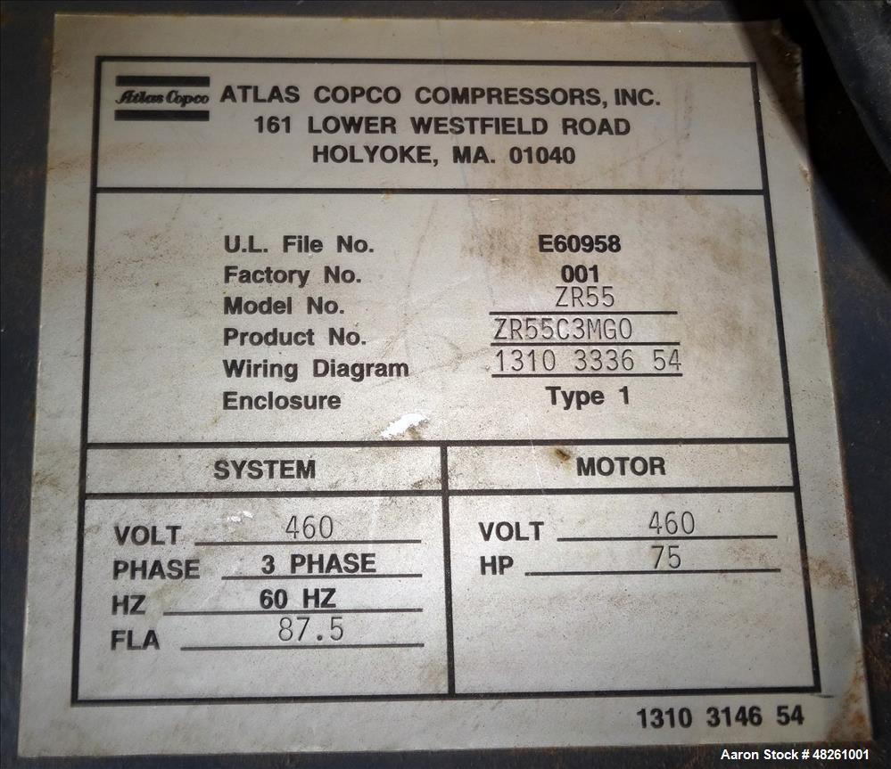 Used Atlas Copco Oil Free Air Rotary Screw C Wiring Diagram Compressor Model Zr55