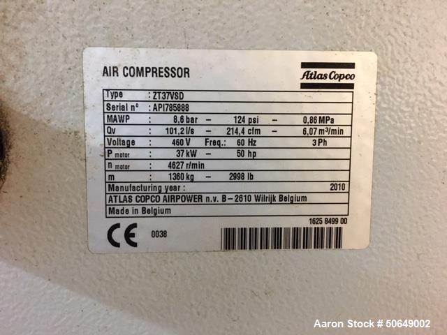 Used- Atlas Copco Air Compressor, Model ZT37VSD