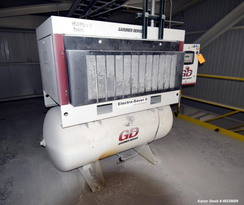 Used Gardner Denver Electra Saver Ii Tank Mounte Motor Wiring Diagram Mounted Rotary Screw Air Compressor
