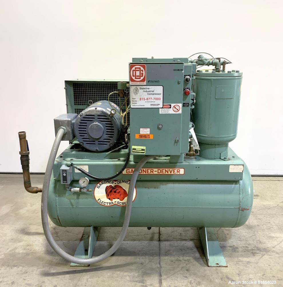 Used- Gardner Denver Rotary Screw Air Compressor, Model EBERGB