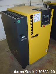 Used- Kaeser Stationary Rotary Screw Compressor, Model SK 15, Air Cooled. Capacity approximately 71 CFM at 125 psi. Driven b...